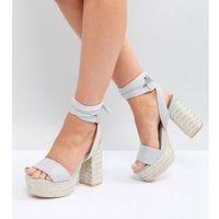 Lost Ink Wide Fit Light Grey Platform Heeled Sandals - Grey