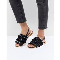 black ruffle pearl detail sandals - black marki Lost ink