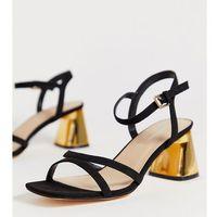 London Rebel wide fit mid heel stud sandals - Black, kolor czarny