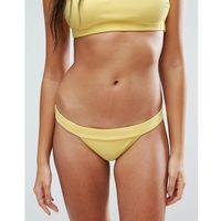 ASOS Mix and Match Deep Band Brazillian Bikini Bottom in Rib - Yellow