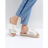 River Island Laser Cut Bow Espadrille Sandals - White, kolor biały