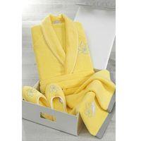 Krótki damski szlafrok LILIUM + kapcie + ręcznik + pudełko S + kapcie (36/38) + ręcznik + box Żółty, kolor żółty