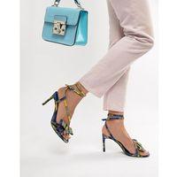 Bershka check skinny sandal in multi - white