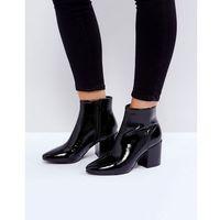 RAID Rapple Patent Heeled Ankle Boots - Black, kolor czarny