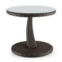 tabula stolik 50cm szkło technorattan aluminium bicolor brązowy marki Blumfeldt