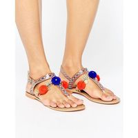 Glamorous pom pom charm leather toepost flat sandals - multi