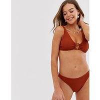 New look textured ring detail bikini top in copper - copper