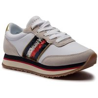 Sneakersy TOMMY HILFIGER - Sequins Retro Runner FW0FW03703 White 100, kolor biały