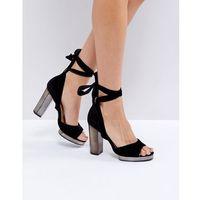 tie up slim platform sandals - black marki Truffle collection