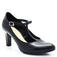 891 czarne - pełne czółenka z paskiem - czarny marki Kotyl