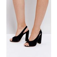 peep toe sling back block heeled sandal - black, Missguided