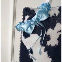 Podwiązka z dużą kokardą błękitna jasna, kolor niebieski
