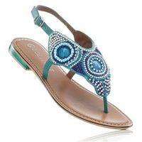 Sandały skórzane japonki bonprix turkusowy, kolor niebieski
