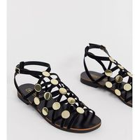 River Island caged flat sandal with studs in black - Black