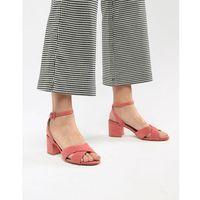 Mango suedette cross front block heel sandal in pink - Pink