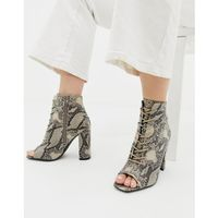 lace up block heeled sandal in snake pattern - black marki New look