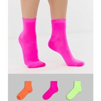 ASOS DESIGN 3 pack neon ankle socks - Multi