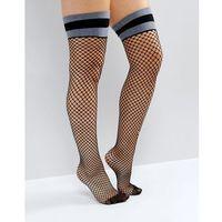 over the knee stripe top fishnet socks - black, Asos