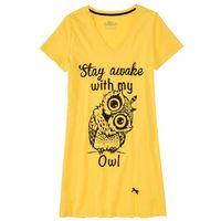 Koszula nocna bonprix złocisto-żółty z nadrukiem, bawełna