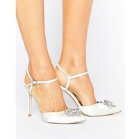 Asos peppermint bridal embellished pointed high heels - white