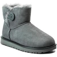 Buty UGG - W Mini Bailey Button II Metallic 1019031 W/Gys, kolor szary