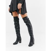 River island over the knee heeled boots in black - black