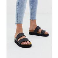 Office Magnetic black croc mix slider flat sandals - Black