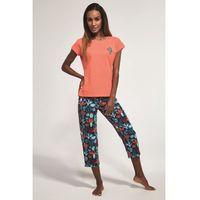 Bawełnian piżama damska Cornette 3 częściowa 665/173 Cactus Morelowa, kolor pomarańczowy