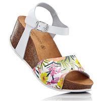 Bonprix Sandały skórzane na koturnie biały w kwiaty