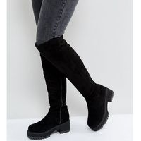 Asos kitsch wide fit chunky over the knee boots - black