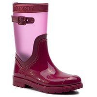 Kalosze - translucent detail rain boot fw0fw04126 beet red 522, Tommy hilfiger, 37-39