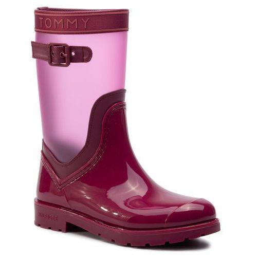 Kalosze - translucent detail rain boot fw0fw04126 beet red 522, Tommy hilfiger, 36-42
