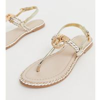 River Island toe post sandals with gold detail in white - Beige