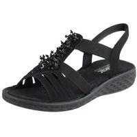 Sandały letnie czarne płaska podeszwa inny materiał, Rieker