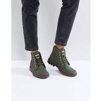 Palladium Pampa Hi Originale Olive Canvas Flat Ankle Boots - Green