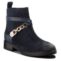 Botki TOMMY HILFIGER - Th Chain Bootie Sued FW0FW03454 Midnight 403, kolor niebieski