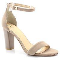2704 beżowe - sandały na słupku - beżowy marki Tymoteo