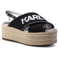 Espadryle KARL LAGERFELD - KL80305 Black Knit Textile W/White, w 6 rozmiarach