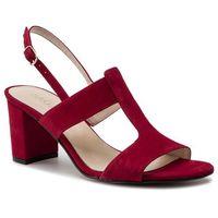 Sandały SAGAN - 3607 Czerwony Welur