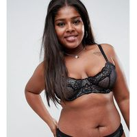 Asos design curve lizzie dobby spot & lace underwired bra - black, Asos curve