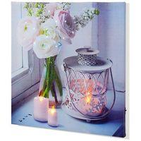 """Obraz LED """"Świece i kwiaty"""" bonprix biały"""