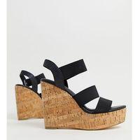 London Rebel wide fit high heeled cork wedges - Black, kolor czarny