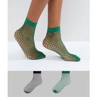Asos 2 pack oversized fishnet socks in black and green - multi