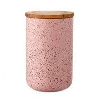 Ceramiczny pojemnik z bambusowym wieczkiem 17 cm Stak Speckled Ladelle pudrowy róż LD-61103