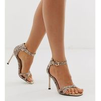 River island wide fit barely there heeled sandals in snake print - multi