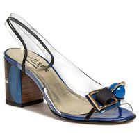 Sandały azurÉe - madere9cb vernis noir/vernis marino/motif bleu 02 marki Azurée