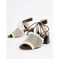 River island sandals in canvas with block heel - beige