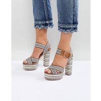 platform espadrille stripe detail heeled sandal - tan marki Glamorous