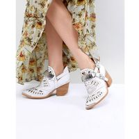 Jeffrey Campbell Leather White Western Laser Cut Ankle Boots - White, kolor biały