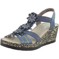 Sandały letnie Rieker Niebieskie Koturn skóra naturalna, kolor niebieski